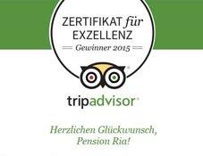 Tripadvisor Zertifikat f. Exzellenz 2015 Pension Ria Pörtschach am Woerthersee