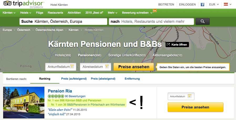 Pension Ria ist die Nummer 1 Frühstückspension in Kärnten und am Wörthersee
